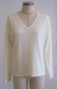 The original beaded jumper which is to be recycled in to the skirt.